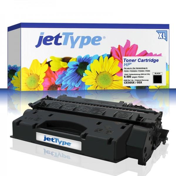 jetType Toner kompatibel zu HP CE505X 05X schwarz 6.500 Seiten Große Füllmenge 1 Stück