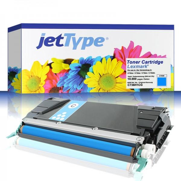 jetType Toner kompatibel zu Lexmark C736H1CG C746A1CG cyan 10.000 Seiten Universalkartusche