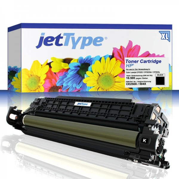 jetType Toner kompatibel zu HP CE250X 504X schwarz 10.500 Seiten Große Füllmenge 1 Stück