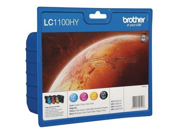 Brother Tinte Multipack LC-1100 HYVAL BP DR BK/C/M/Y BK= 900 S. / C/M/Y= je 750 S. Große