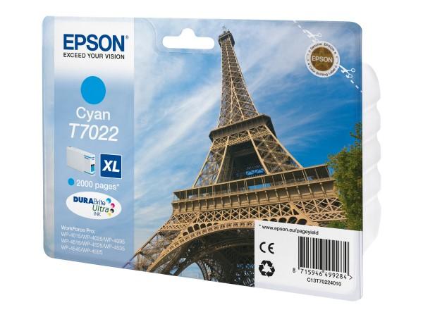 Epson Tinte C13T70224010 T7022 cyan 2.000 Seiten 21,3 ml Größe XL Große Füllmenge 1 Stück