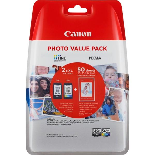 Canon Tinte Multipack 8286B006 PG-545 CL 546 Schwarz + Color + 50 Blatt Fotopapier (10 x 15) 2