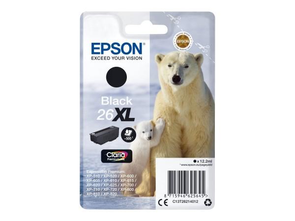 Epson Tinte C13T26214012 26XL Schwarz 500 Seiten 12,2 ml Große Füllmenge 1 Stück