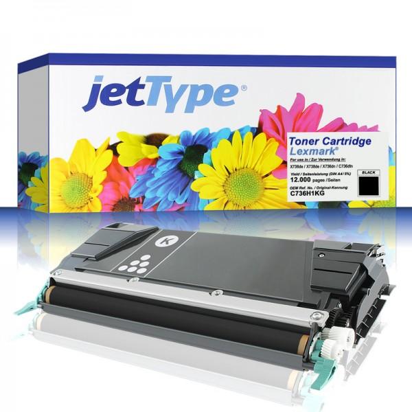 jetType Toner kompatibel zu Lexmark C736H1KG C746H1KG schwarz 12.000 Seiten Universalkartusche