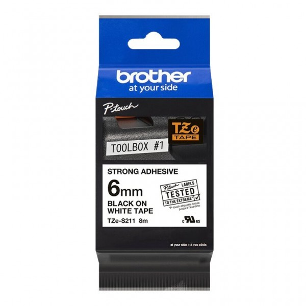 Brother Schriftband TZE-S211 6 mm 8 m schwarz auf weiß laminiert extra stark klebend