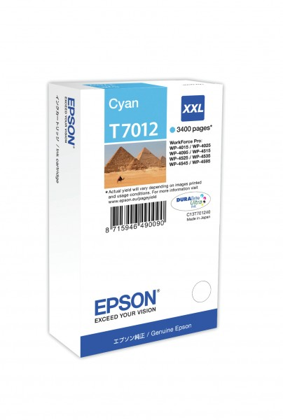 Epson Tinte C13T70124010 T7012 cyan 3.400 Seiten 34,2 ml Größe XXL Große Füllmenge 1 Stück