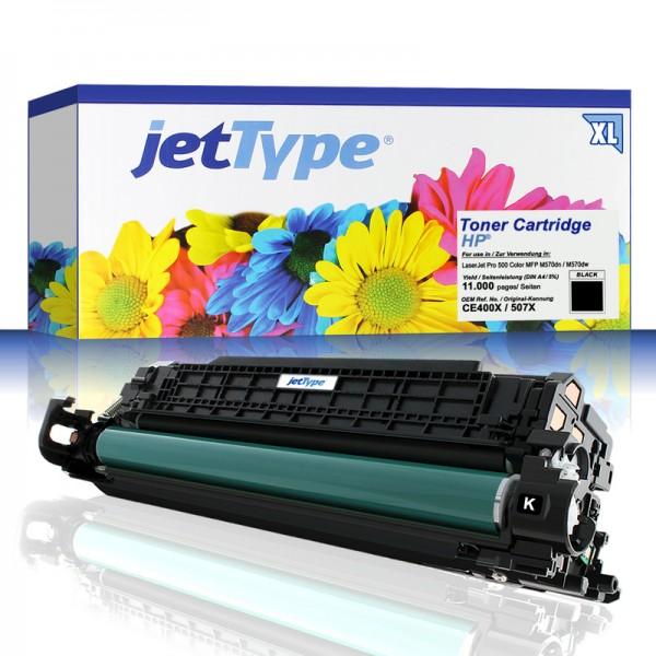 jetType Toner kompatibel zu HP CE400X 507X schwarz 11.000 Seiten Große Füllmenge 1 Stück