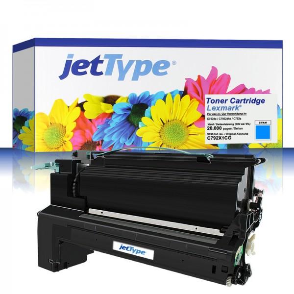 jetType Toner kompatibel zu Lexmark C792X1CG cyan 20.000 Seiten 1 Stück