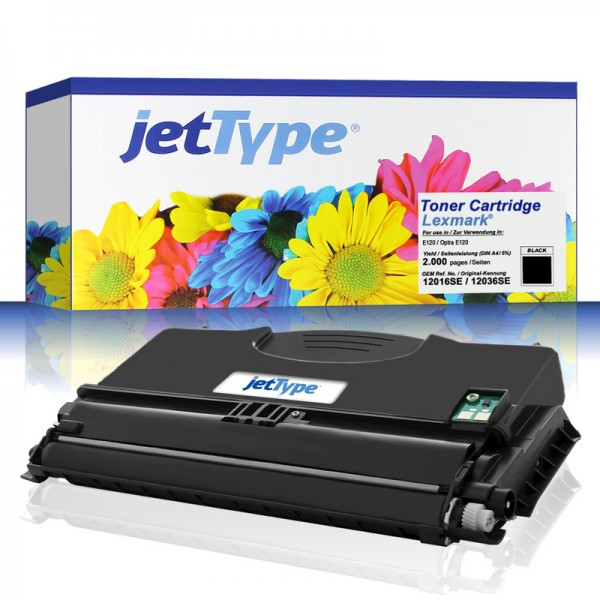 jetType Toner kompatibel zu Lexmark 12016SE schwarz 2.000 Seiten 1 Stück