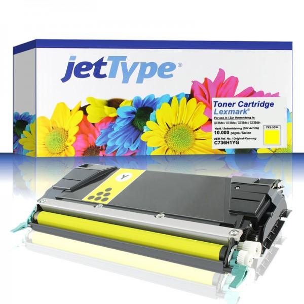 jetType Toner kompatibel zu Lexmark C736H1YG C746A1YG gelb 10.000 Seiten Universalkartusche
