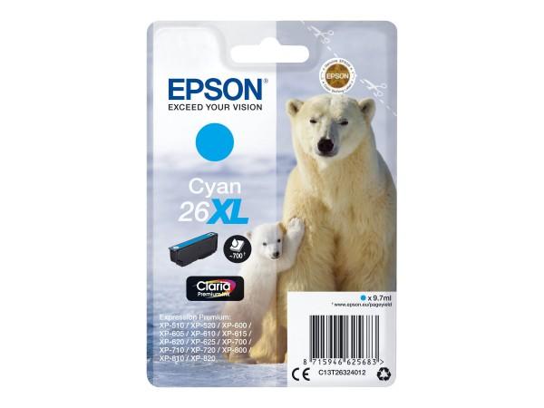 Epson Tinte C13T26324012 26XL Cyan 700 Seiten 9,7 ml Große Füllmenge 1 Stück