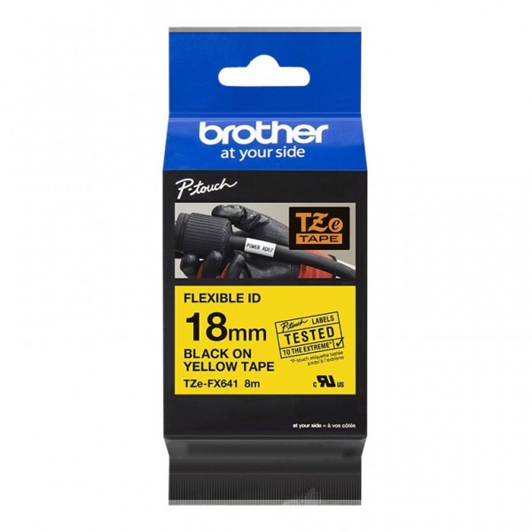Brother Schriftband TZE-FX641 18 mm 8 m schwarz auf gelb laminiert Flexi-Tape