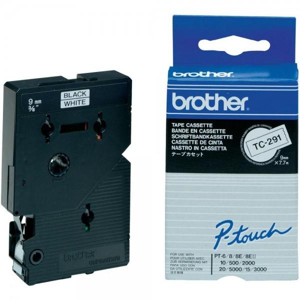 Brother Schriftband TC291 9 mm 7,7 m schwarz auf weiß laminiert