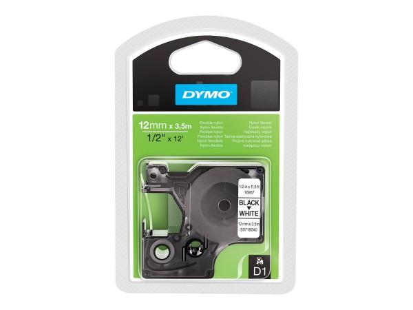 Dymo Schriftband S0718040 16957 12 mm 3,5 m schwarz auf weiß Nylon