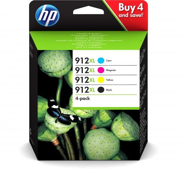 HP Tinte Multipack 3YP34AE 912XL BK/C/M/Y BK = 825 Seiten / CMY = je 825 Seiten BK = 21,7 ml / CY