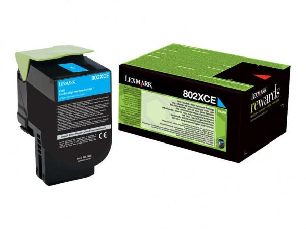 Lexmark Toner 80C2XCE 802XC cyan 4.000 Seiten 1 Stück