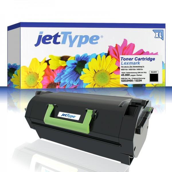 jetType Toner kompatibel zu Lexmark 52D2X0E 522H Schwarz 45.000 Seiten Große Füllmenge 1 Stück