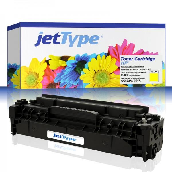 jetType Toner kompatibel zu HP CC532A 304A gelb 2.800 Seiten 1 Stück