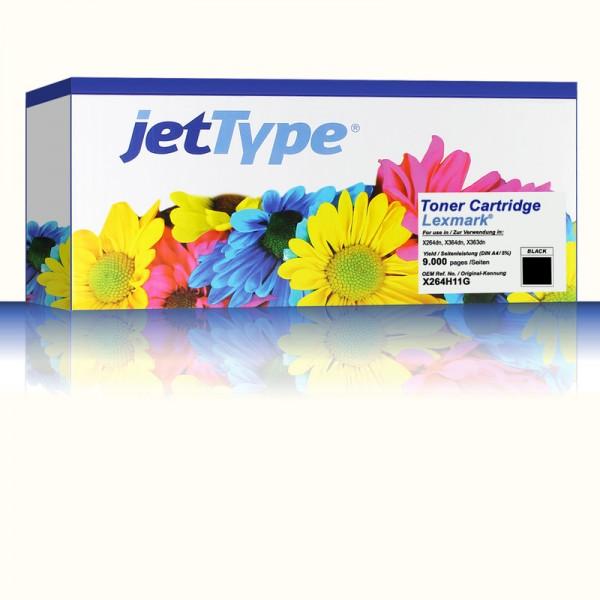 jetType Toner kompatibel zu Lexmark X264H11G schwarz 9.000 Seiten 1 Stück