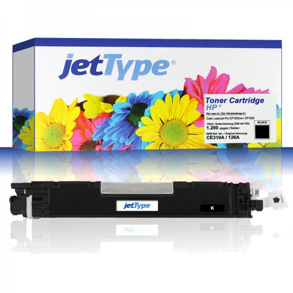 jetType Toner kompatibel zu HP CE310A 126A schwarz 1.200 Seiten 1 Stück