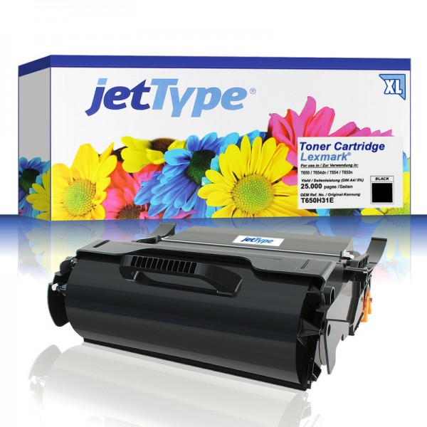 jetType Toner kompatibel zu Lexmark T650H31E schwarz 25.000 Seiten 1 Stück