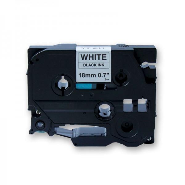 jetType Schriftband kompatibel zu Brother TZE-241 18 mm 8 m schwarz weiß