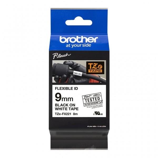 Brother Schriftband TZE-FX221 9 mm 8 m schwarz auf weiß laminiert Flexi-Tape